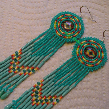 Native American inspired rosette style beaded earrings