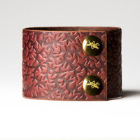 Chestnut Brown Leather Cuff  - Embossed with Thorns - Brass Fasteners - 2 Inches Wide