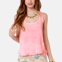 Lost Crush Posey Coral Pink Top