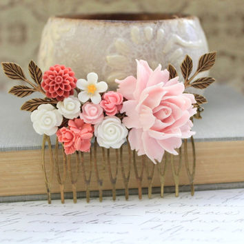 Rose Comb Pink Coral White Wedding Accessories Floral Collage Comb Rustic Country Shabby Chic Gold Brass Leaf Branch Bridal Bridesmaids