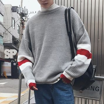 Men's Sweaters Winter 2018 Korean Round Neck Knitting Stripe Unlined Garment Autumn Pullovers Sweater Men Agasalho Casual Masculino Cardigan