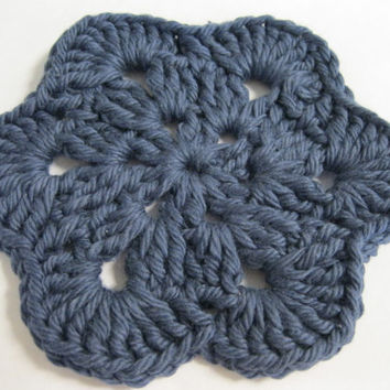 Crochet Coaster - African Flower Coasters - Set of Four Denim Blue Coasters or Face Scrubbies
