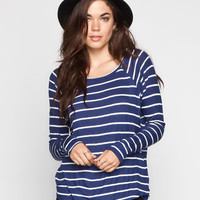 Volcom Lived In Rib Womens Tee Blue/White  In Sizes