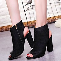 Open Toe Suede Ankle Boots