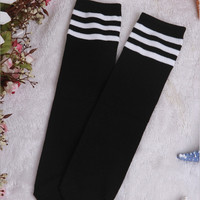Girl Child Stockings Three stripes Girl's Long Stocking Knee High Socks Baby Kids Socks Solid Cotton Stockings