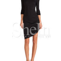 Black Long Sleeve Ruched Wrap Side Backless Dress -SheIn(Sheinside)