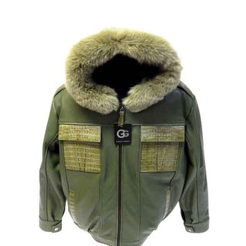 G-Gator - 2077 Hooded Lamb Skin/Crocodile Fur Lined Jacket