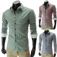 Button Down Men Fashion Slim Fit Dress Shirt
