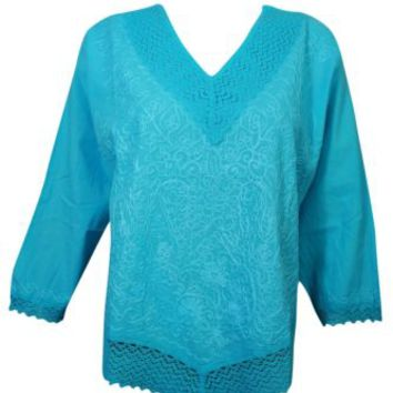 Bohemian Boho Chic Blouse Top Sky Blue Embroidered Cotton Long Sleeves Tops L
