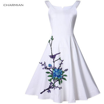 CHARMIAN 1950'S HIGH-WAISTED WIDE SCOOP NECKLINE HEPBURN STYLE EMBROIDERY FLORAL PATTERN ROCKABILLY SWING DRESS