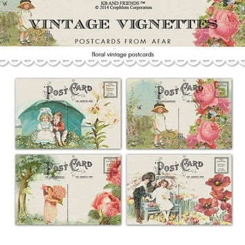 Digital vintage vignettes floral postcards /  shabby chic / ephemera collage sheet /  PDF / two sizes / downloadable, printable