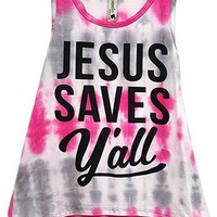 Toddlers Jesus Saves All Tie Dye Tank Top, Pink (Size 2T)