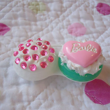 pink contact case, travel contact case, lolita contact case, circle lens case, cabochon contact case, cute travel contact case, pink case