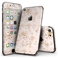 Scattered Gold Strokes Over Pink - 4-Piece Skin Kit for the iPhone 7 or 7 Plus