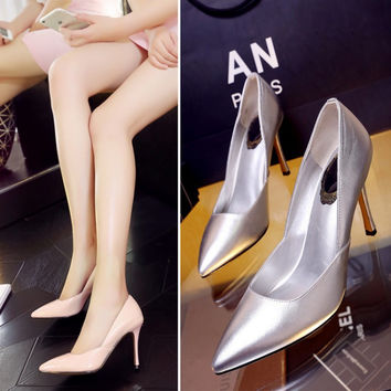 Korean Leather Pointed Toe High Heel Silver Shoes [4919286468]