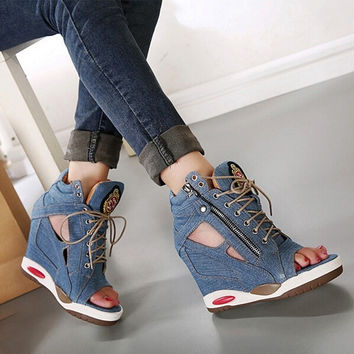 5988c9d7432 2015 increased platform wedges canvas denim octopus mouth open toe high  heel sandals shoes women summer