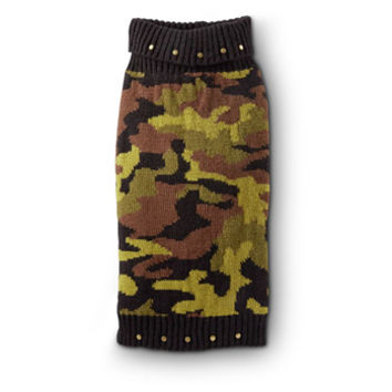 Petco Wag-a-tude Black Studded Camo Dog Sweater