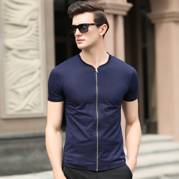 Summer T-shirts Men Short Sleeve Cotton Casual Zippers Jacket [6543954691]