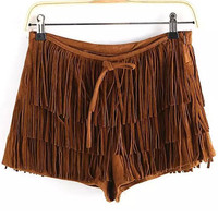 Khaki Fringed Shorts