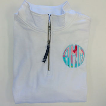 "Sweatshirt Quarter Zip Lilly Pulitzer Monogram Applique  Font Natural Circle in ""First Impression"" shown with light pool"