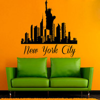 NY Wall Decals New York City Stickers Skyline Pattern Statue Of Liberty Home Interior Design Mural Vinyl Decal Sticker Kids Room Decor kk802