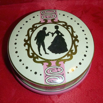 Romantic Silhouette Courtship Tin Litho Pink Collectible Victorian Courting Love Rileys Toffee Candy Jewelry Box Bin Vintage Valentine Gift