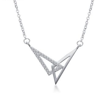 Women's Sterling silver triangle art deco diamonds necklace