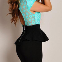 Sky Blue Lace Paneled Peplum Dress