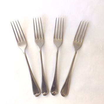 4 Antique English Dinner Forks / Antique Sheffield Cutlery / 1920s Vintage Flatware / Antique Silverware / Firth Staybrite  / Hostess Gift