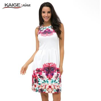KaigeNina New Fashion Hot Sale Women  summer style print dress, women sleeveless party Maxi Tropical Floral Print dresses 2157