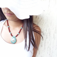 Nepalese Turquoise,Agate Necklace, Tibet Necklace, Statement Necklace Tribal Jewelry OOAK Jewelry
