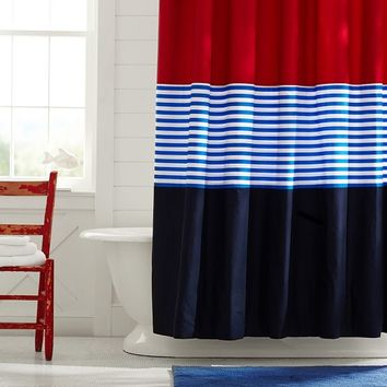 Colorblock Shower Curtain Navy Red