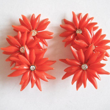 Celluloid Plastic Orange Flower Cover Earrings, Rhinestone, Large, Vintage