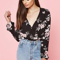 DCCKJH6 Kendall and Kylie Long Sleeve Tie Front Top