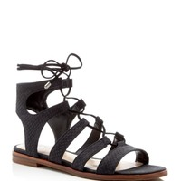 VINCE CAMUTO Tany Snake-Embossed Gladiator Lace Up Flat Sandals | Bloomingdales's