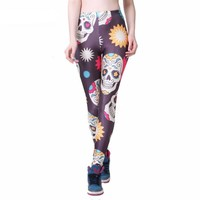 Colorful Skulls Printed Leggings
