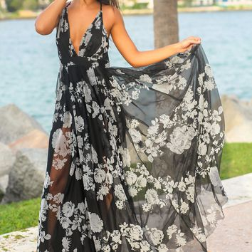 Black and Gray Printed Tulle Maxi Dress with Criss Cross Back