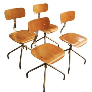 Pre-owned Vintage French Industrial Factory Stool Chairs - 4