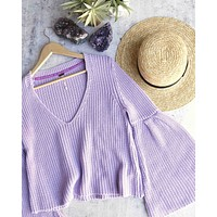 free people - damsel cable knit pullover - light purple