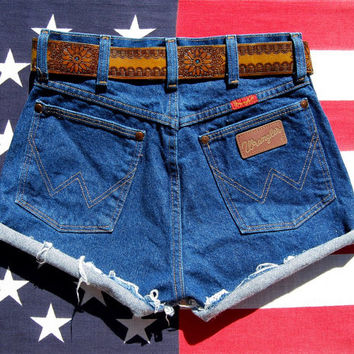 80's Vintage Wrangler Shorts 26 Waist - Small High Waisted Shorts, Dark Wash Denim Cutoffs, Blue Jean Shorts, USA Wrangler Cut Offs
