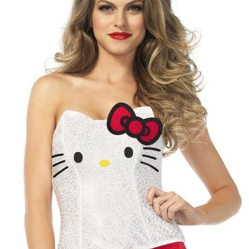 Hello Kitty sequin bustier with bow accent in WHITE