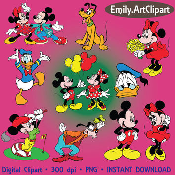 Digital Clipart 40 Image Mickey Mouse Party Clip Art Scrapbooking Invitations Disney Cartoon Graphic INSTANT DOWNLOAD printable 300 dpi png