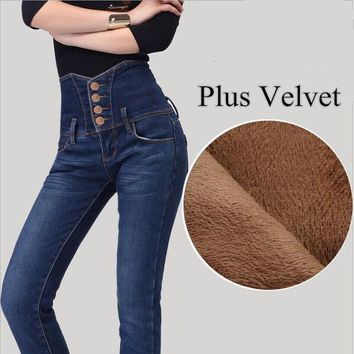 DCK9M2 New Arrival 2016 Winter High Waist Women Jeans Plus Velvet Warm Jeans High Quality Fashion Design Skinny Boot Cut Jeans TL60