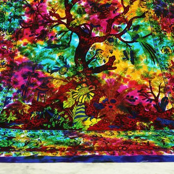 Nature Animal Printed Flowers Tree Tapestry Boho Wall Tapestries Bohemian Tapestry Wall Hanging Yoga Tapestry Hippie Tapestry Wall Decor