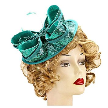 Blue Zircon Bow Feather Sequin Headband Fascinator
