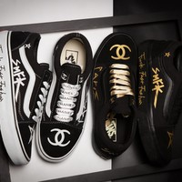 VANS x Chanel Graffiti Black Gold Sneaker