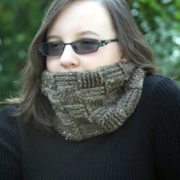 Men's brown scarf neck warmer or tweed cowl basket weave crochet warm winter custom colors available