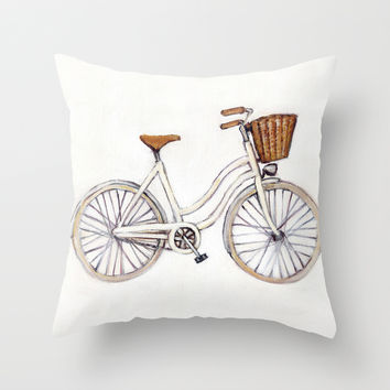 Bicycle / White Cruiser Throw Pillow by Heather Buchanan
