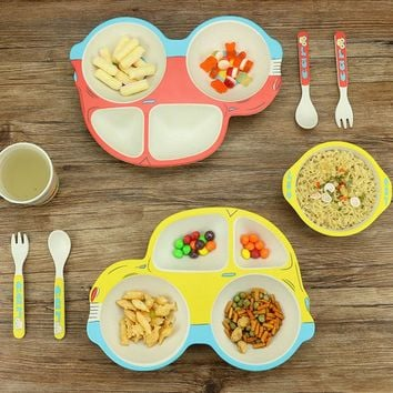 5pcs/set Creative Cartoon Kids Dinnerware Sets Pure Natural Bamboo Lovely Lunch Tray Dishes Children Bowl Tableware