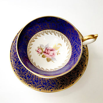 Vintage Aynsley Tea Cup, Cobalt Blue, Rose Flower, Fancy Gold Gilt Decoration, Athens Shape, Tea Cup and Saucer Set, English Bone China